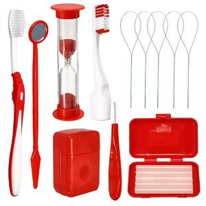 Dental Teeth Oral Cleaning Care Orthodontic Kits Brush Floss Thread Wax 8pcs/kit#Red