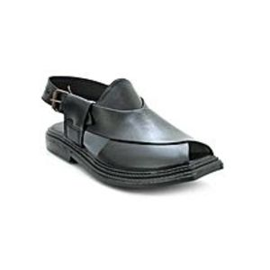 Bata Black Pu Synthetic Peshawari Sandals For Men