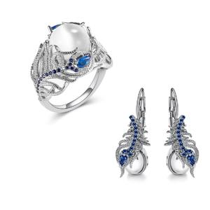 Premium Quality 925 Sterling Sliver Cat Eye Opal And Sapphire Ring & Earrings - With Gift Box