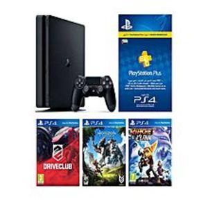 SonyPlay Station 4 HITS Bundle 500GB+ Horizon Zero Dawn, Ratchet & Clank, Driveclub + 3 Month PS Plus