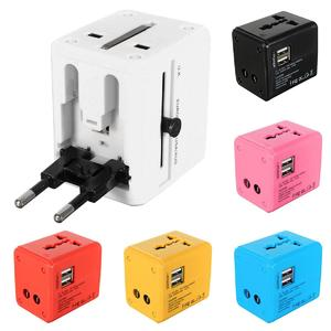 Universal World Plug Travel Adapter Converter With Dual USB Charger AU/US/UK/EU white