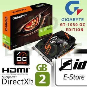 【 Limited Stock】Gigabyte Nvidia Ge force GT 1030 OC Edition 2 GB GDDR5 64 bit PC gaming graphics card 4K HDMI DVI  (With Retail BOX Driver CD)
