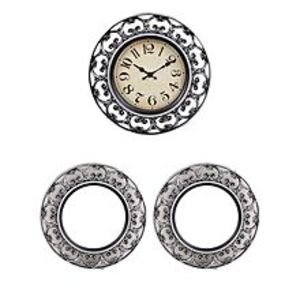 "Asaan Buy Pack Of 3 - Silent Non Ticking Quartz Wall Clock With 2 Mirrors Antique Style - 11X11"" - Silver"
