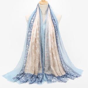 MissFortune Women Fashion Cotton  Pearl Oversized Embroidery Shawl Headband  Pashmina