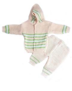 3 Pcs Peach Hood Sweater Set for Newborn