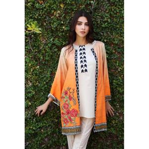 So Kamal Winter Collection  Orange Linen Embroidered 1PC -Unstitched Shirt DPW18 692 EF01257-STD-ORG