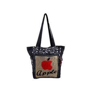 Apple Handbag for School and College - 15x14 - Black