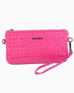 Pink-Leather Wristlet Zipper Pouch-Hand Bag - Leather Bag BAG-38-MINI-PNK-17-