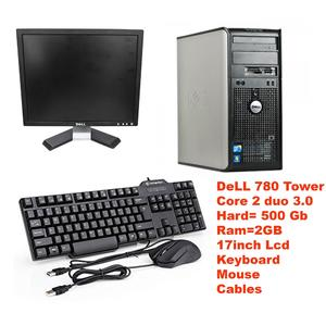OptiPlex 780/380 USFF Tower Intel Core 2 Duo 3.0 GHz 2 GB RAM 500 GB HD DVD Win 10 Pro 64-Bit + Dell 17 LCD + Dell Mouse & Keyboard - Black - Certified PC