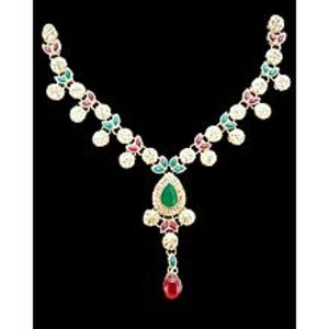 Javed JewlersNew Era Fashion Light Brown Necklace & Earrings With A Touch Of Green & Red Color For Girls & Women
