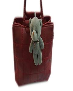 Maroon Leather Removable Strap Hand Bag With Bear