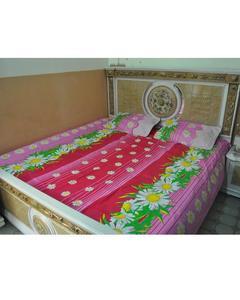 Multicolour Cotton Printed King Size Bedsheet - 3 Pcs