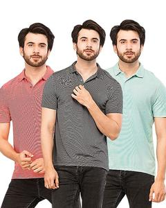 Pack Of 3 Black,Blue And Red Lining Polo T-Shirt For Men