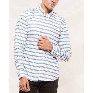 Denizen White and Blue Cotton Shirt for Men