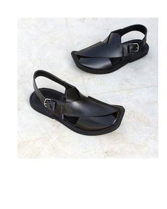 Peshawari Pure Leather Sandals - Black