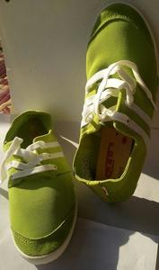Green Canvas Lace Shoes For Women