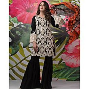 Nimsay Black Embroidered Lawn (Fel0048) 3 Pcs Unstitched