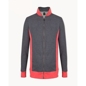 Fashion Lining Fleece Zipper Mock-neck Jacket For Man-Dark Gray With Orchid Red-NA410