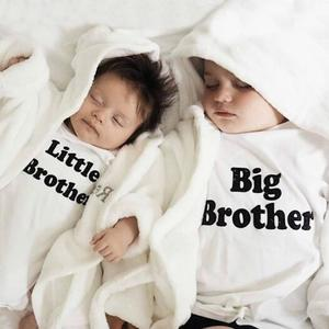Infant Toddler Baby Boys Letter Print Romper Jumpsuit Outfits Brother Clothes