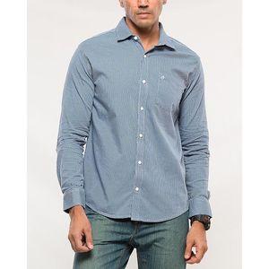 Denizen Blue Cotton Woven Shirt for Men