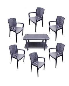 (Boss) Set Of 6 Lexus Jhony Stylish Outdoor/Indoor Plastic Chairs And Plastic Folding Table - Grey
