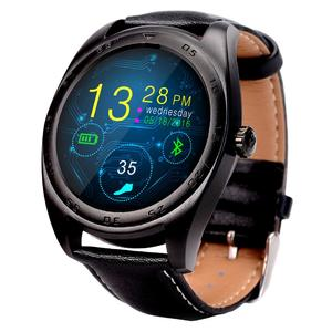 K89 Classic Watch Design Leather Band Bluetooth 4.0 Heart Rate Smart Watch, Pedometer / Sedentary Reminder / Sleep Monitor / Remote Capture / Anti-lost (Black)