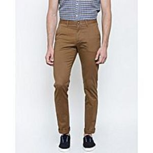 Meerbound Men's Brown Cotton Chino Twill Pants