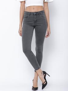 SLIM FIT CLEAN LOOK JEANS-Grey