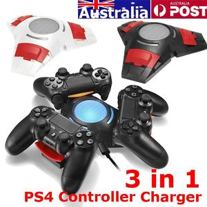White PS4 Controller Charger Station Stand Dual Shock 3 Controllers USB Charging Dock