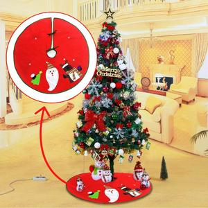 VAKIND- 90cm Red Christmas Tree Skirt Apron Xmas Ornament Home Party Decoration