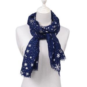 Women Silver Snowflake Scarves Autumn Winter Shawl Wraps Neck Warmer Snood Scarf