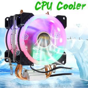 【 Flash Deal】CPU Cooler 2 Heatpipe 2x RGB Fan 4Pin For Intel 775/1150/1151/1155/1156/1366 AMD