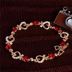 1Pcs Beautiful Bracelet for Women Colorful Austrian Zircon Crystal Fashion Heart Chain Bracelet