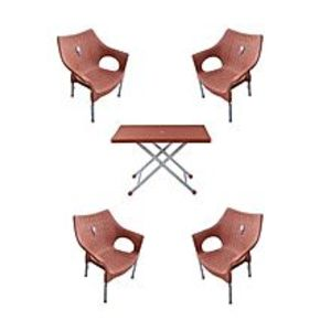 CHIEF(Boss) Pack Of 4 Rattan Stylish Plastic Chairs And Plastic Table - Brown