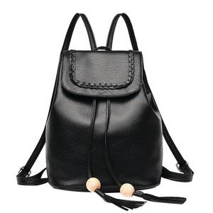 Woman Fashion Leather Backpack Female Pretty Tassel Travel Rucksack School Bag