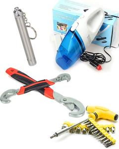 Car Vacuum Cleaner With Free Professional Socket & Bits & snap & grip &led torch light silver pen