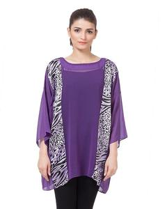 Valerie Weight less Tops chiffon poncho with printed contrast