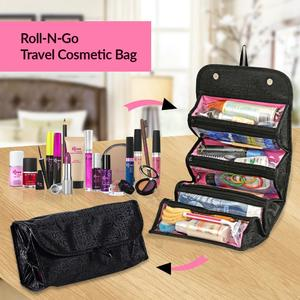 Roll N Go Cosmetic Bag Women Lady Multi Function Makeup Bag Hanging Toiletries Rolls Up Travel Kit