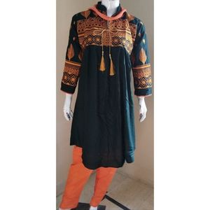 Navy Blue Embroidered Kurti For Women