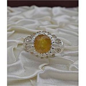 Ameer Ali Enterprises 3420 African Yellow Sapphire Pukhraj Silver Ring