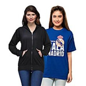 Ace Pack of 2 - Black Hoodie and Royal Blue Printed T Shirt for Her
