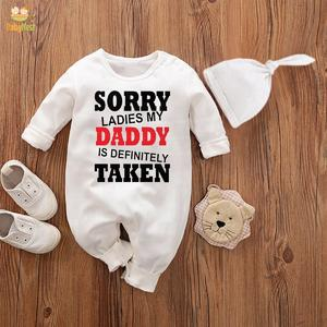 Baby Jumpsuit With Cap Sorry Ladies My daddy is definitely taken (WHITE)