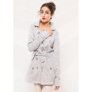 Hazel Grey Fleece Style Long Coat For Women