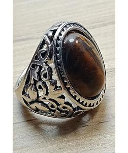 Semi Natural Tiger Aqeeq Gemstone Ring For Men