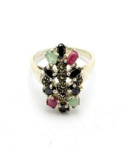 Emerald Sapphire and Ruby Stone Silver Ring GB(5)4391