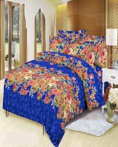 Multicolor Cotton 3D Printed King Size Bedsheet Set - 3pcs