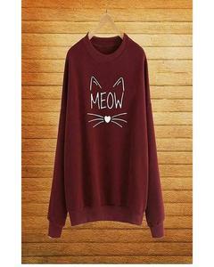 Maroon Fleece SweatShirt For Women