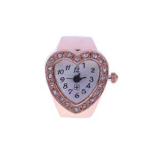 Heart Finger Ring Watch Elastic Rhinestone Women Finger Ring Watches(Gold)