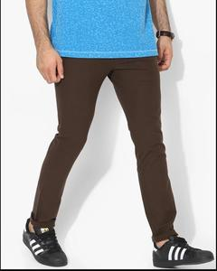 Brown Solid Skinny Fit Chinos
