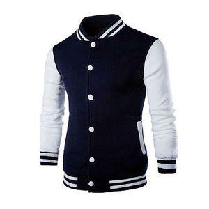 Oasis Navy Blue Cotton Fleece Varsity Baseball Jacket for Men